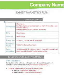 Exhibit Marketing Plan Template