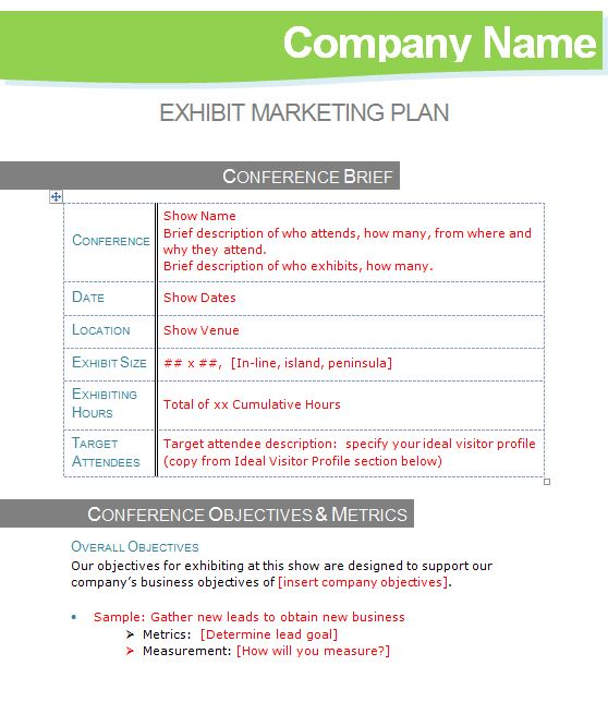 Exhibit marketing plan template tradeshow turnaround exhibit marketing plan template wajeb Gallery