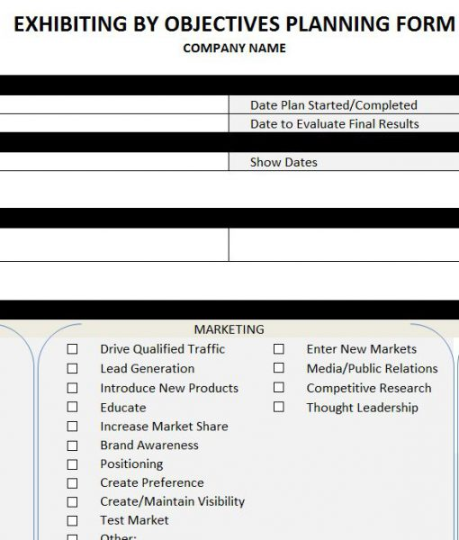 Exhibiting by Objectives Planning Form