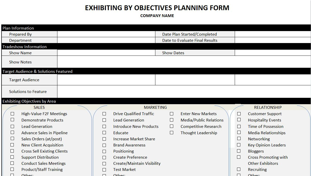 exhibiting by objectives planning tool tradeshow turnaround