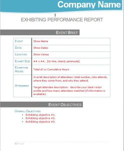 Post Show Exhibit Performance Management Report