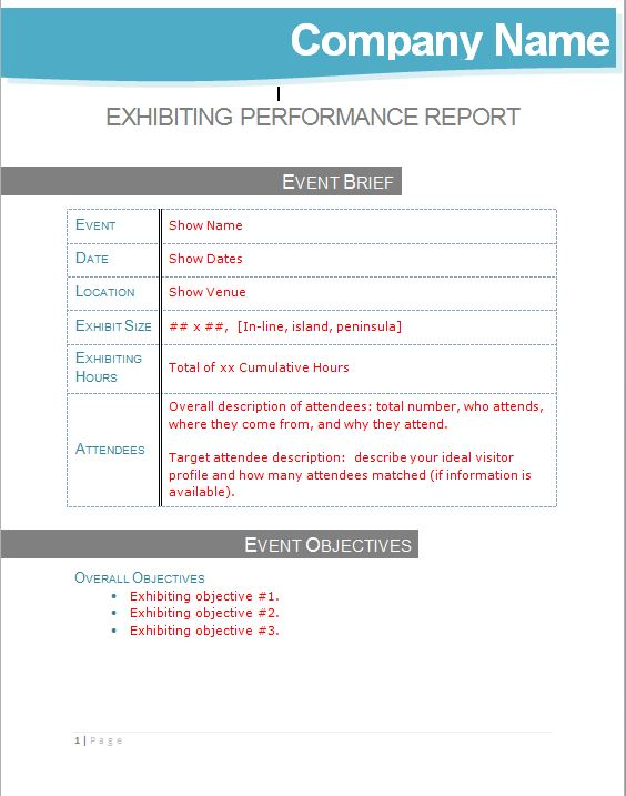 Post Show Exhibiting Performance Management Report Template
